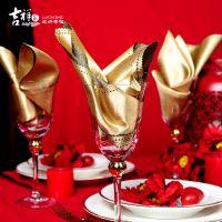 吉祥家新中式亮面纺丝餐巾<花好月圆>样板房餐桌装饰金色口布