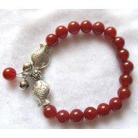天然复古藏银红玛瑙对吻小鱼手链 水晶手链 情侣链