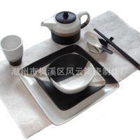 日用陶瓷日式餐具套装,日韩料理餐厅用瓷,三色窑变酒店台面餐具