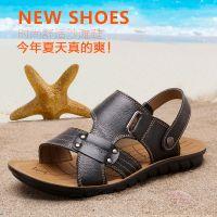 【厂家直销】男士凉鞋夏季休闲沙滩鞋男皮凉鞋真皮凉拖鞋头层皮
