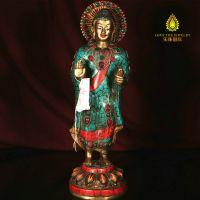 做旧大日如来佛像纯铜招财摆件 手工雕刻镶嵌绿松石 尼泊尔现货