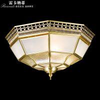 雷卡纳蒂欧式全铜灯手工灯饰地中海田园过道吸顶灯玻璃灯复古阳台