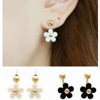 ER307 小金球 可爱雏菊花朵 五瓣花后挂式耳环时尚明星耳钉 饰品