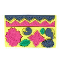 翻糖蛋糕工具C款硅胶压花模具块(花和叶子)巧克力模具印花F0258