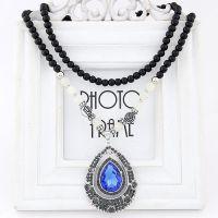 复古民族风宝石水滴黑珠夸张饰品装饰配饰毛衣链锁骨链长款项链女