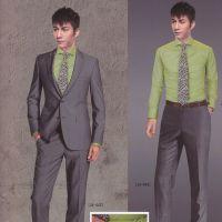 秋季新款男装设计定做韩版西服套装两粒扣大格子厂家设计定做