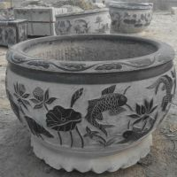 天青石石雕仿古水缸石雕水缸订做厂家直销荷花石缸山东嘉祥贻亮石业