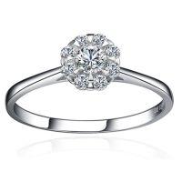 群镶钻戒正品 女钻石戒指 铂金钻戒 18K白金戒指