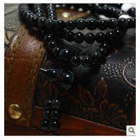 天然水晶饰品黑曜石白砗磲108颗佛珠手链葫芦坠款男女情侣款