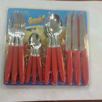 塑料柄刀叉勺餐具 不锈钢便携式餐饮用具套餐