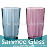 工厂直销矮款大号竖纹玻璃杯 蓝色喷色咖啡饮料杯 耐用玻璃水杯
