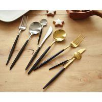 全黑色不锈钢西餐具 电镀黑金 不锈钢本色刀叉勺子 葡萄牙风格