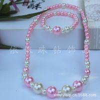 儿童粉色系列 珍珠项链手链套装儿童韩国饰品毛衣链 珍珠首饰