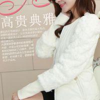 2014新款韩版仿兔毛袖收腰修身中长款羽绒服松紧袖羽绒棉服外套女
