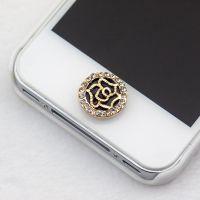 韩版镀金镶钻圆盘玫瑰花手机按键贴 义乌厂家直销 ALQP20140182