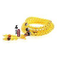 巴西 纯天然黄水晶 108颗佛珠手链 多圈手链 材质纯正 靓丽夺目
