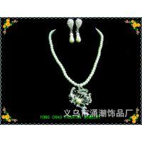 新款职场宴会珍珠套链 合金水钻【古怪蝴蝶】造型 外贸珍珠首饰