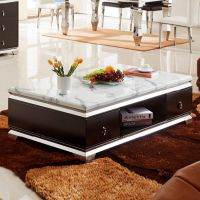 现代简约时尚经典客厅家具钢化玻璃桌面大理石台面不锈钢茶几B38