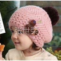 供应时尚新款毛线球儿童帽 小熊婴儿帽子 宝宝彩色贝雷帽