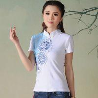 2015中国风民俗服饰精致绣花上衣素颜气质打底衫修身立领女式T恤