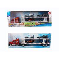 厂家批发 58CM惯性双层拖头载4只滑行F1赛车 拖车模型 儿童玩具