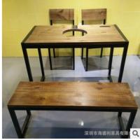 美式乡村实木火锅桌椅 四人位多功能火锅餐厅餐桌椅