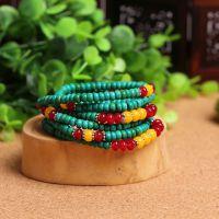 厂家批发特价绿松石手链 天然佛珠配红玛瑙黄玛瑙多层手串