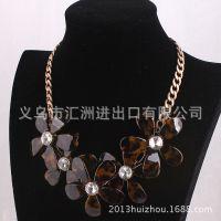 欧美大牌琥珀色树脂花朵宝石 复古短款锁骨项链JC133