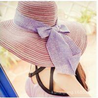 大沿帽女夏天遮阳帽沙滩帽草帽子太阳帽蝴蝶结防晒大檐帽批发