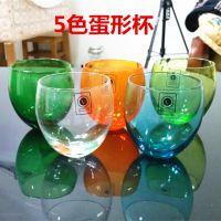 蛋形玻璃杯/透明彩色水杯/时尚创意茶杯果汁杯情侣杯子工厂直销