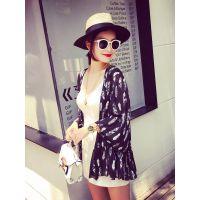 小银子2015夏装新款趣味图案清凉必备雪纺防晒外套W6281