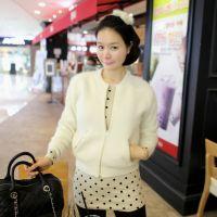 2014韩国代购粉色拉链开衫毛衣兔毛 长袖开衫夹克式毛衣