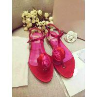 调调家欧洲站2015年夏季新款玫瑰之约凉鞋纯色两色夹趾休闲凉鞋