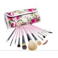 高品质羊毛化妆刷12支专业化妆刷套装花色化妆用品化妆工具