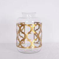 厂家直销 简约现代家居摆饰器皿玻璃罐小号  合金+艺术