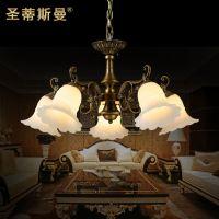 新款仿云石餐吊灯 欧式田园全铜吊灯 卧室书房餐厅灯饰灯具包安装