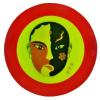 立优陶瓷8寸红边陶瓷京剧脸谱挂盘墙壁装修挂件摆盘挂盘装饰盘