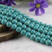 【厂家批发】蓝色爆花松石 蓝松石 绿松石散珠串珠饰品材料包