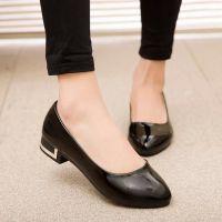 2015女鞋春季新款韩版增高女单鞋 女士粗跟工作皮鞋 地摊鞋子批发