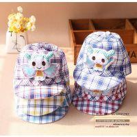 批发夏季韩版儿童帽子宝宝全格子小蜜蜂鸭舌棒球帽婴儿时尚遮阳帽