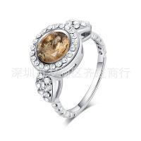 欧美热销饰品批发 速卖通 ebay热销货源 镶钻茶色宝石戒指批发