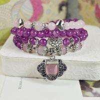 水晶手链 天然 紫粉晶吉祥锁手串 佛珠 手饰批发 跑江湖新产品