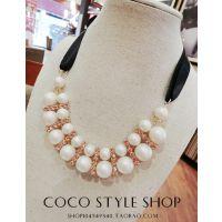 黑丝带系带 双排珍珠镶钻项链韩国饰品 可调长度短链项链锁骨链女