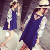 小银子2015夏装新款减龄吸睛花朵灯笼袖A型显瘦连衣裙X
