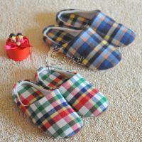 外贸 家居风格 冷冻定型 情侣彩格拖鞋 冬季 家居鞋 棉拖鞋