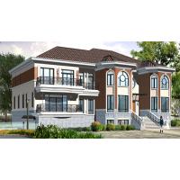 带晒台旋转楼梯美观三层房屋设计方案图20.6x13.7米