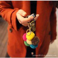 秋冬新款韩国代购饰品批发代理K0956毛线球花钥匙扣包包手机挂件