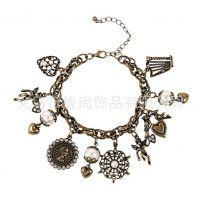 厂家供应复古珍珠手链 古铜色手链 爱的天使手链 桃心挂件手链