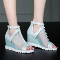 2015夏季新款网纱凉鞋女坡跟鞋欧美大牌风格真皮鱼嘴鞋