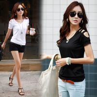 韩国官网同款2015夏装新款日韩女装百搭纯棉学生装露肩短袖T恤女